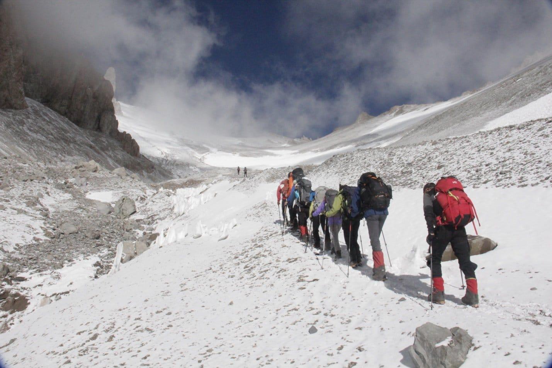 Climbing to Camp II
